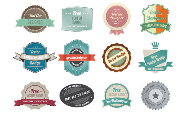 Colorful Vintage Labels Badges