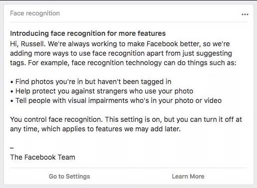 Facebook facial recognition feature