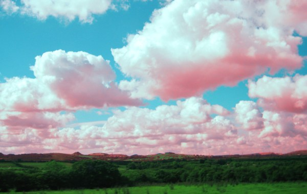 Beautiful landscape image of an endless green field with clouds that look pink.