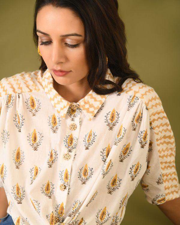 Woman wearing Cotton Hand Block Printed top