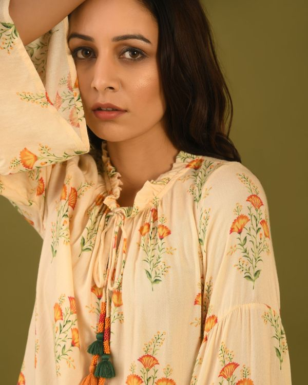 woman in floral digital printed top