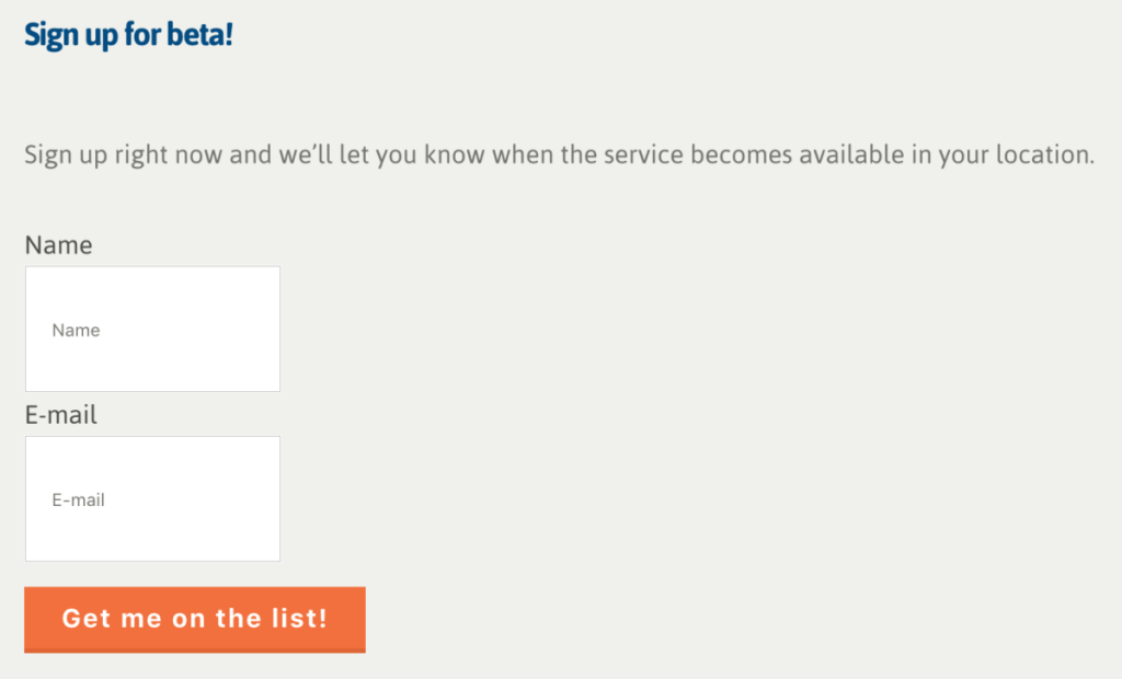 Beta Sign Up Landing Page