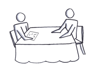 A customer discovery interview process going on