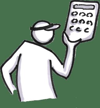 An accountant holding a calculator