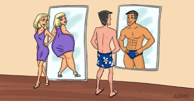 он красуется перед зеркалом