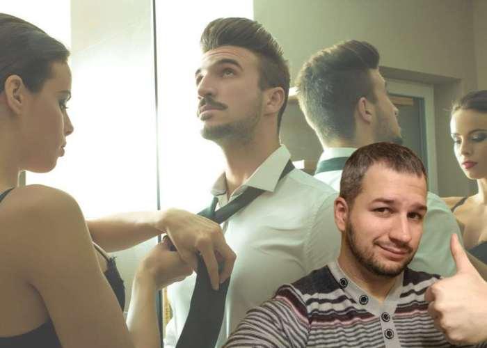 женщина поправляет мужчине галстук
