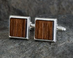 Hickory Smoked Wood Cufflinks