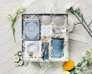birthday gift box for women silver sunglasses earrings leather grey keychain nail polish candle tea bracelet