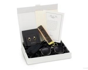 modern gift box for women bride black gold sunglasses earrings leopard keychain personalized gift card