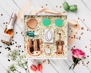 rose gold bachelorette party gift box for bridesmaid earrings wine watch bottle opener sunglasses makeup
