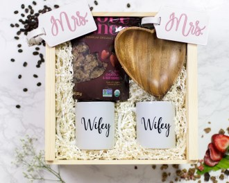 Gift Box Lesbian LGBT Gay Pride Mrs and Mrs Luggage Tag Heart Bowl Wifey Coffee Mug Love