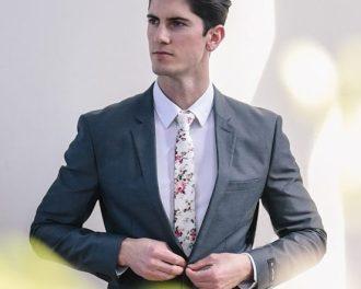Cream Floral Tie Suit