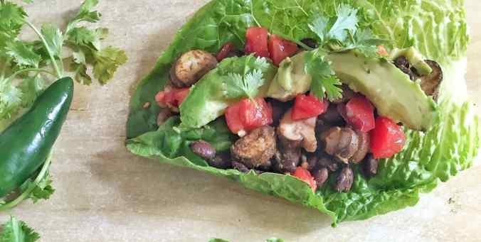Spicy Black Bean + Mushroom Taco Lettuce Wraps | The Grateful Grazer | www.gratefulgrazer.com