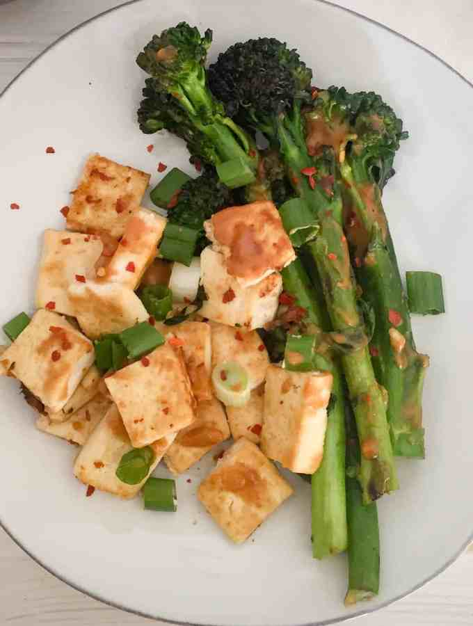 Dry Fried Tofu with Broccolini + Thai Peanut Sauce