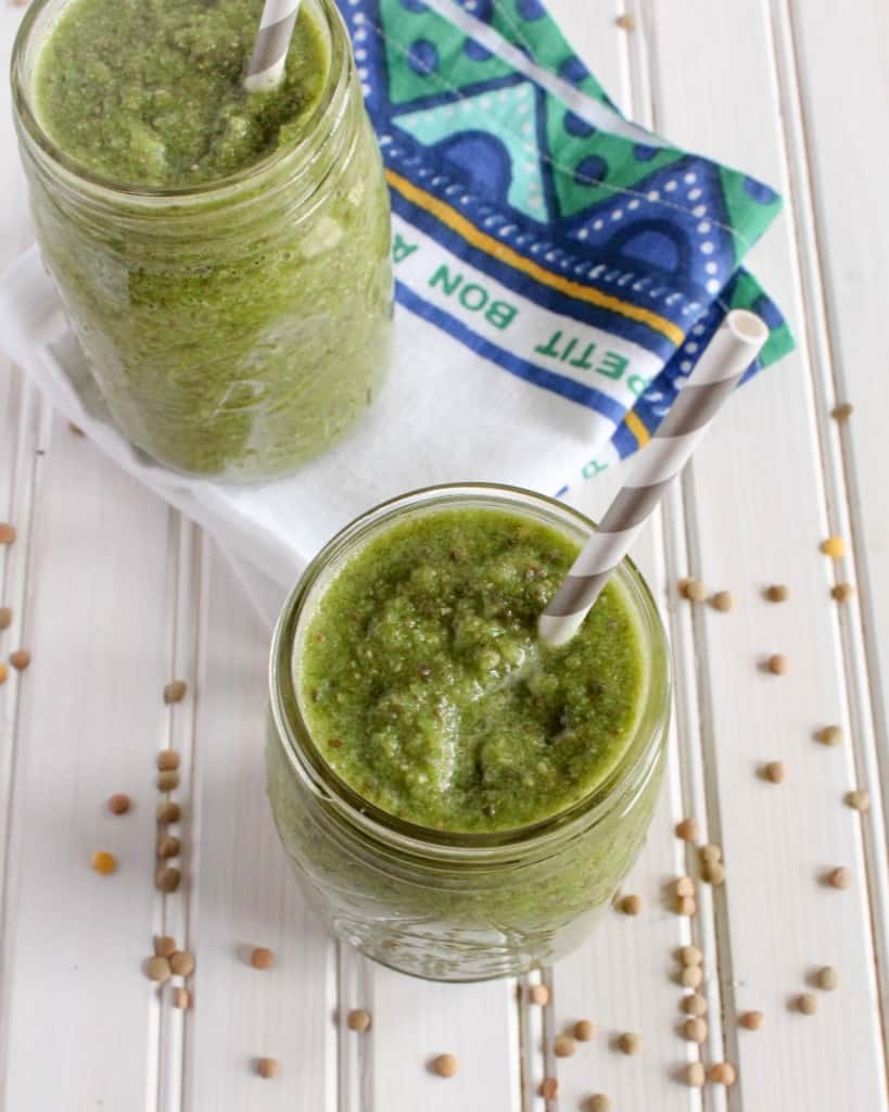 Start your day with nourishing plant-based protein, fruits, and veggies in this energizing lentil smoothie. Vegan/dairy-free green smoothie recipe!