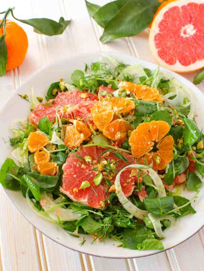 Winter Citrus Salad with Watercress, Fennel + Pistachios