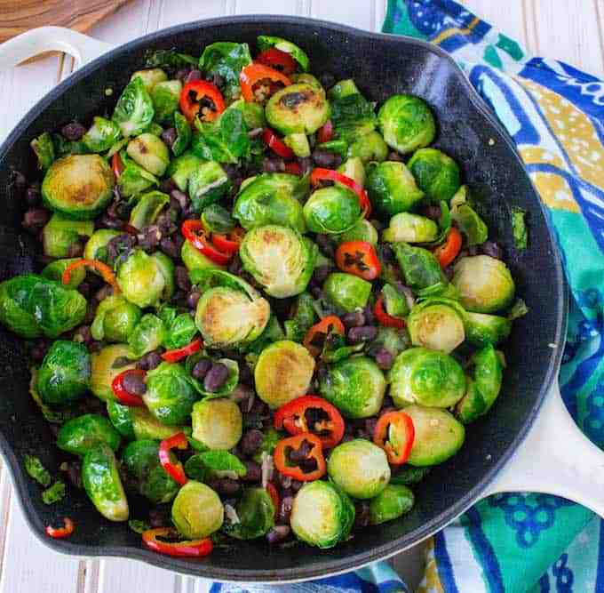 Brussels Sprouts with Chili, Black Beans + Lime