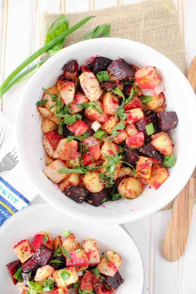 Healthy plant-based side dish recipe for Miso Roasted Root Vegetables from The Grateful Grazer.