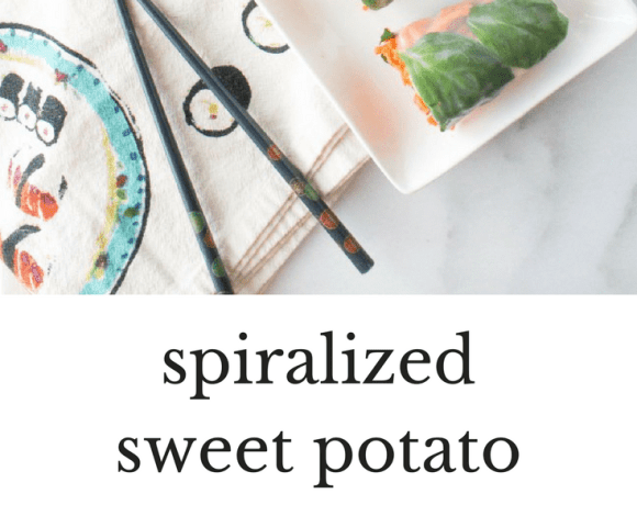 Spiralized Sweet Potato Spring Rolls with Sesame Soy Sauce