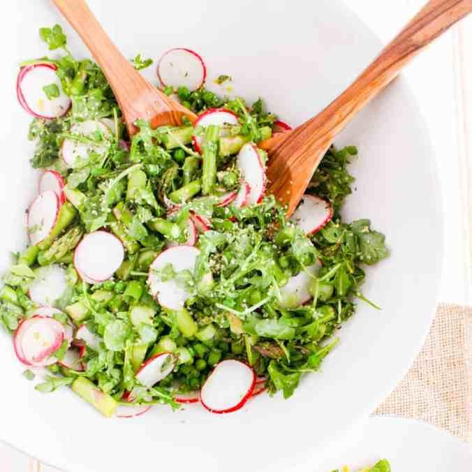 Seasonal Springtime Asparagus Salad with Lemon Hemp Vinaigrette (vegan) from The Grateful Grazer.