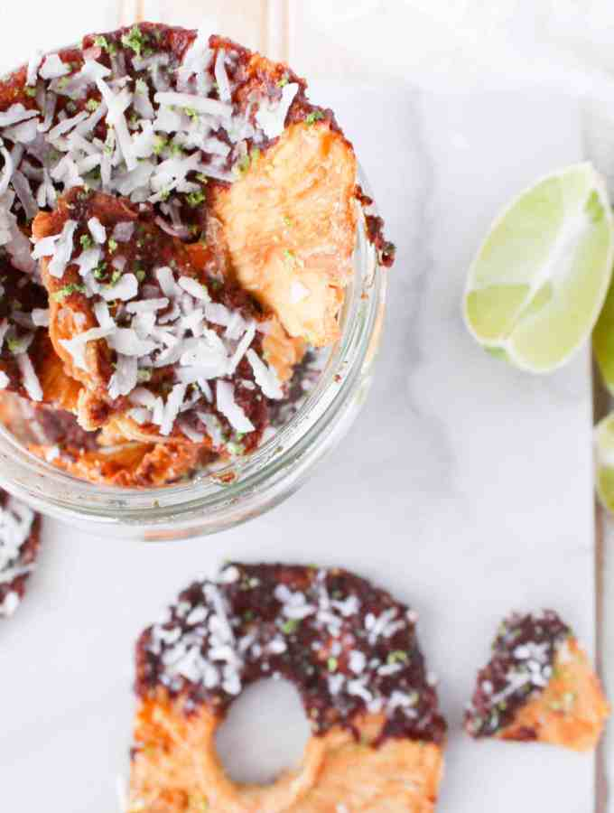 Coconut Lime Dark Chocolate Dipped Pineapple Rings