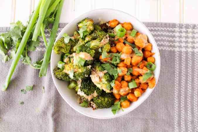 Buffalo Chickpea and Broccoli Bowl with Honey Mustard Tahini Sauce. Vegan and gluten-free. The Grateful Grazer.