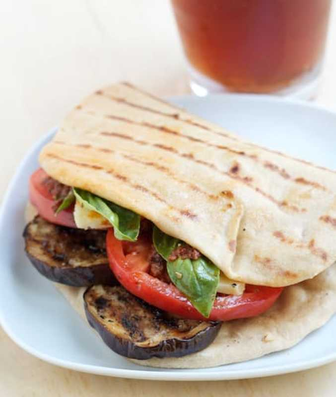 35 Plant Powered Summer Cookout Recipes - Eggplant Flatbread - The Grateful Grazer
