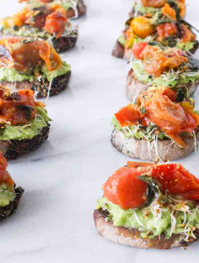 Roasted Tomato Avocado Toasts