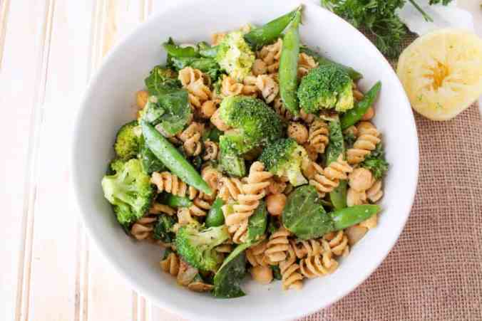 Green Goddess Pasta Salad - vegan, whole grain and tasty hot or cold.