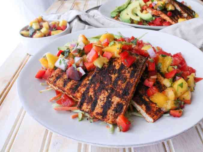 Vegan Grilled Tofu Taco Salad from The Grateful Grazer