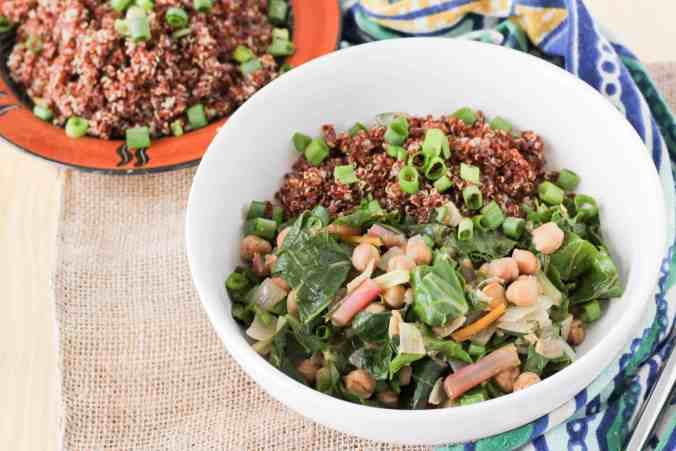 African-Spiced Chickpeas and Greens are perfect for a quick and healthy weeknight meal!