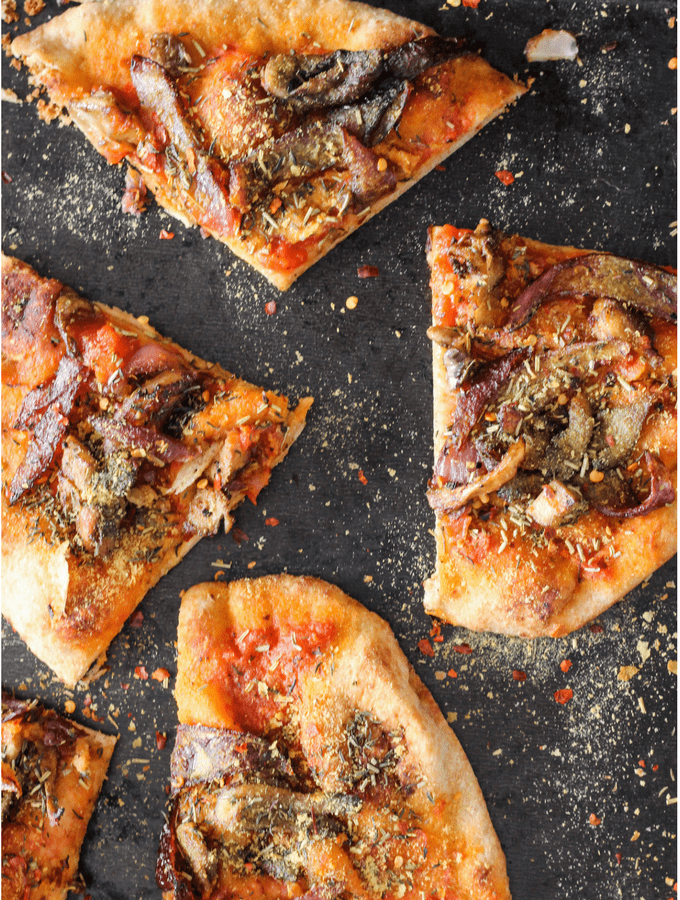Plant-Based Mushroom and Caramelized Onion Naan Pizzas (and free recipe ebook)