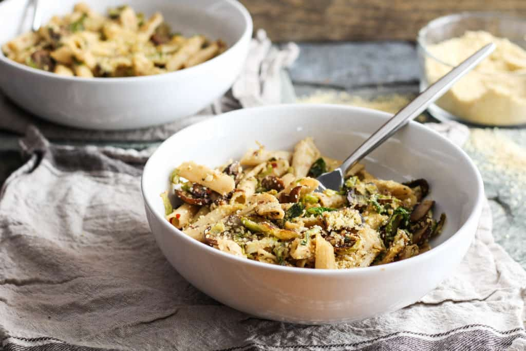This healthy, delicious, easy brussels sprouts pasta recipe from Alex Caspero's Fresh Italian Cooking proves you can stay slim while eating pasta. Vegan!