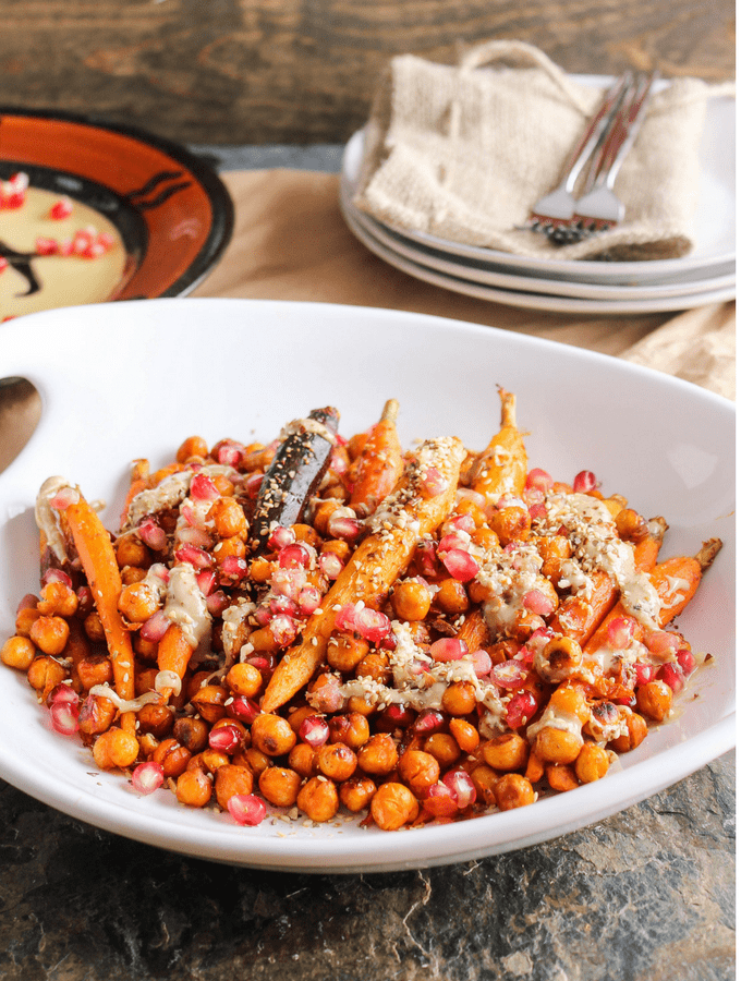 Harissa Roasted Carrots & Chickpeas with Pomegranate, Tahini & Dukkah