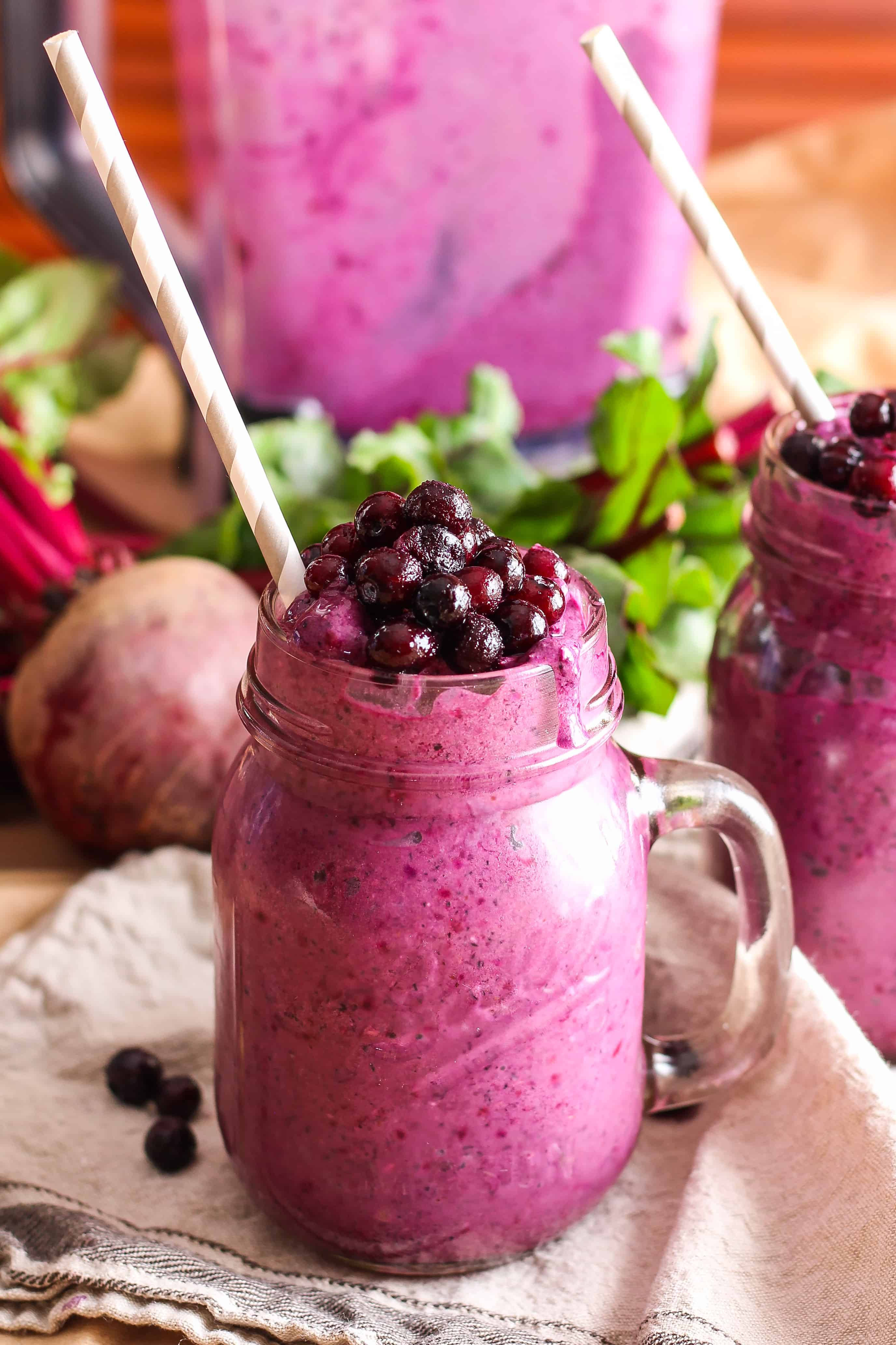Blueberry Beet Smoothie Made With Wild Blueberries Vegan