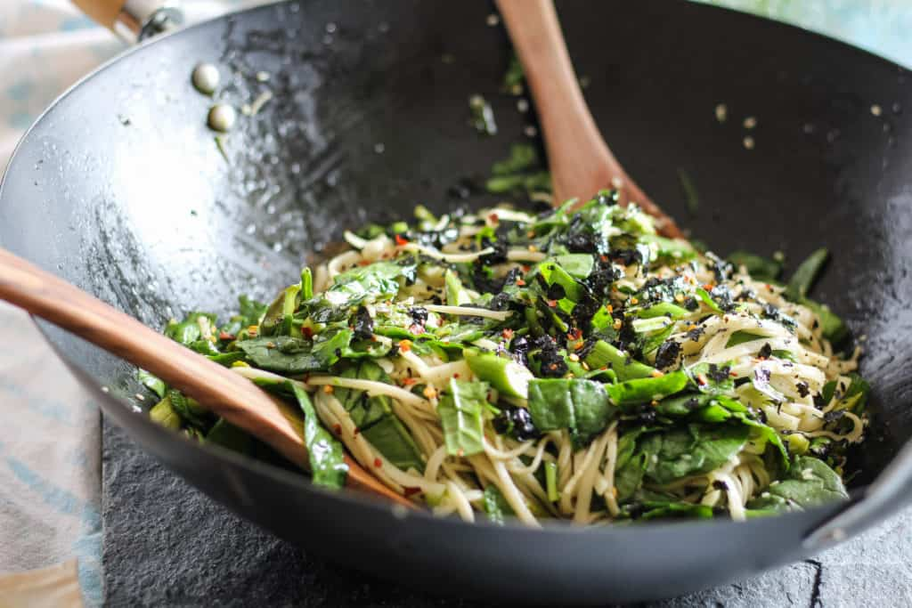 Udon Noodles with Asparagus and Greens. A quick and easy plant-based meal that can be served warm, room temperature, or cold. Great for packed lunches!