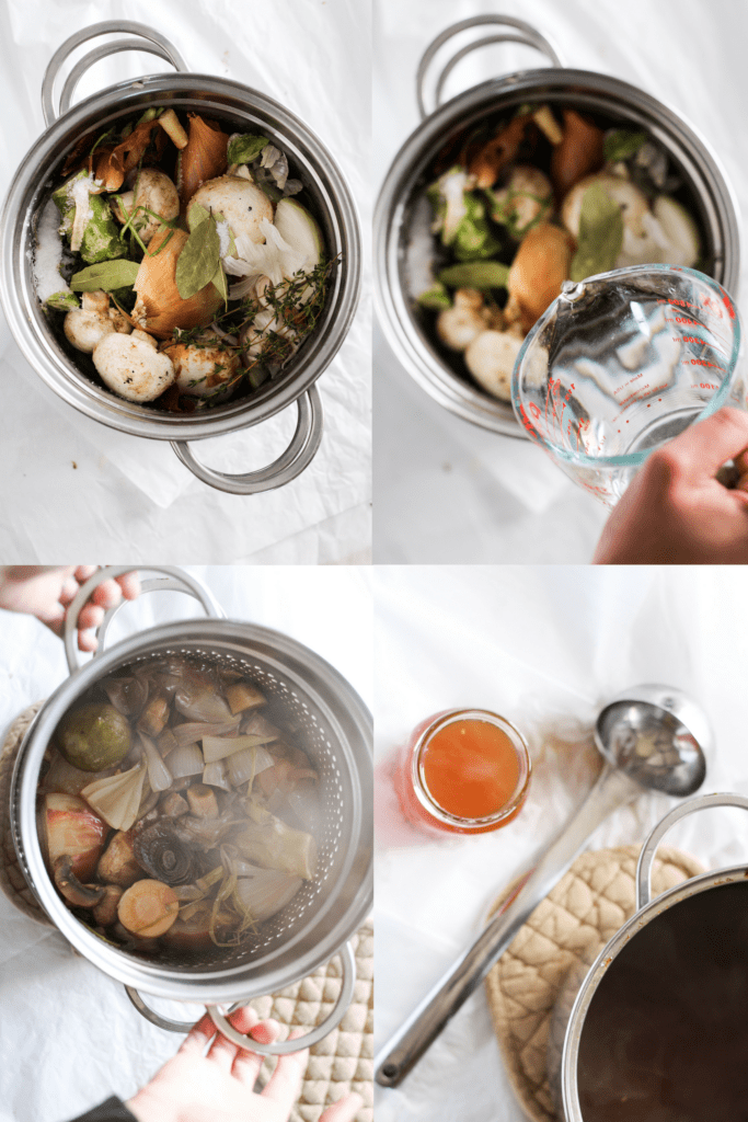 This savory vegetarian mushroom broth is bursting with flavor thanks to leftover vegetable scraps. Use the whole veggie to reduce food waste in your home!