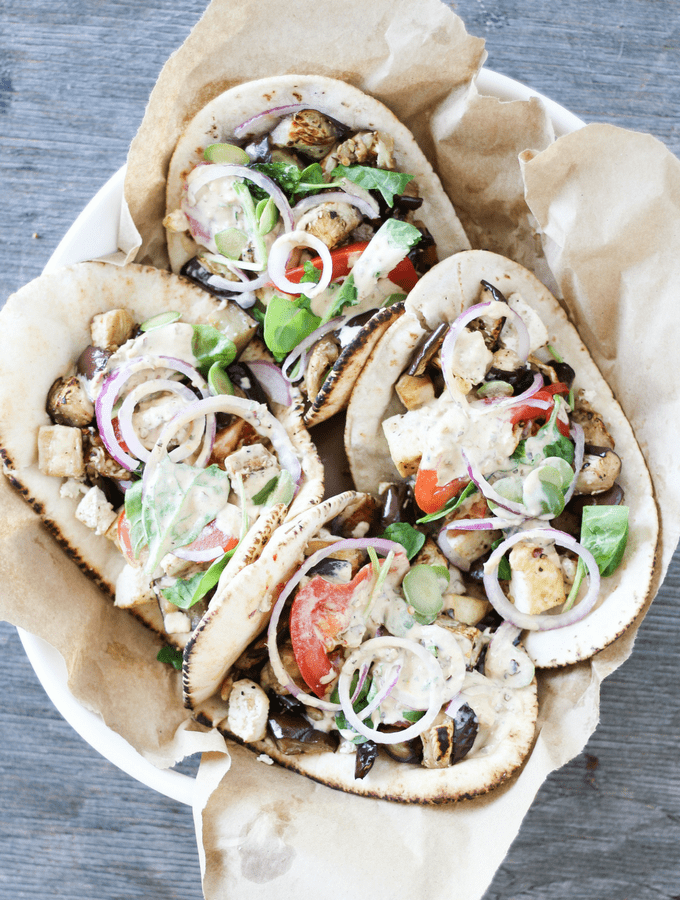 Charred Eggplant Pita Wraps with Lemon Saffron Tahini Sauce