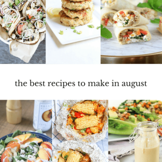 Which fruits and vegetables are in season? This August meal plan includes the best healthy seasonal recipes—with vegan, vegetarian, and gluten-free options.