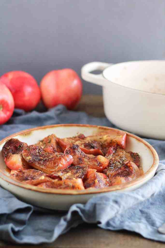 Roasted Apples & Pears with thyme make a delicious addition to fall brunches, snacks, and holiday dinners. Recipe & creative ways to use roasted fall fruit!