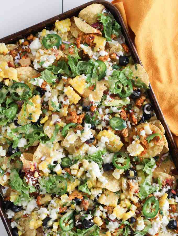 Easy Vegetarian Tempeh Sheet Pan Nachos