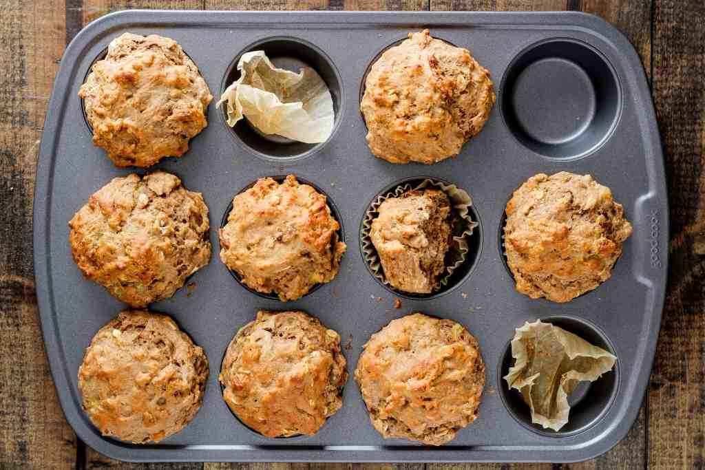 These Banana Pecan Oat Muffins are easy to make, perfect for meal prep, and packed with fiber from whole grains and fruit.