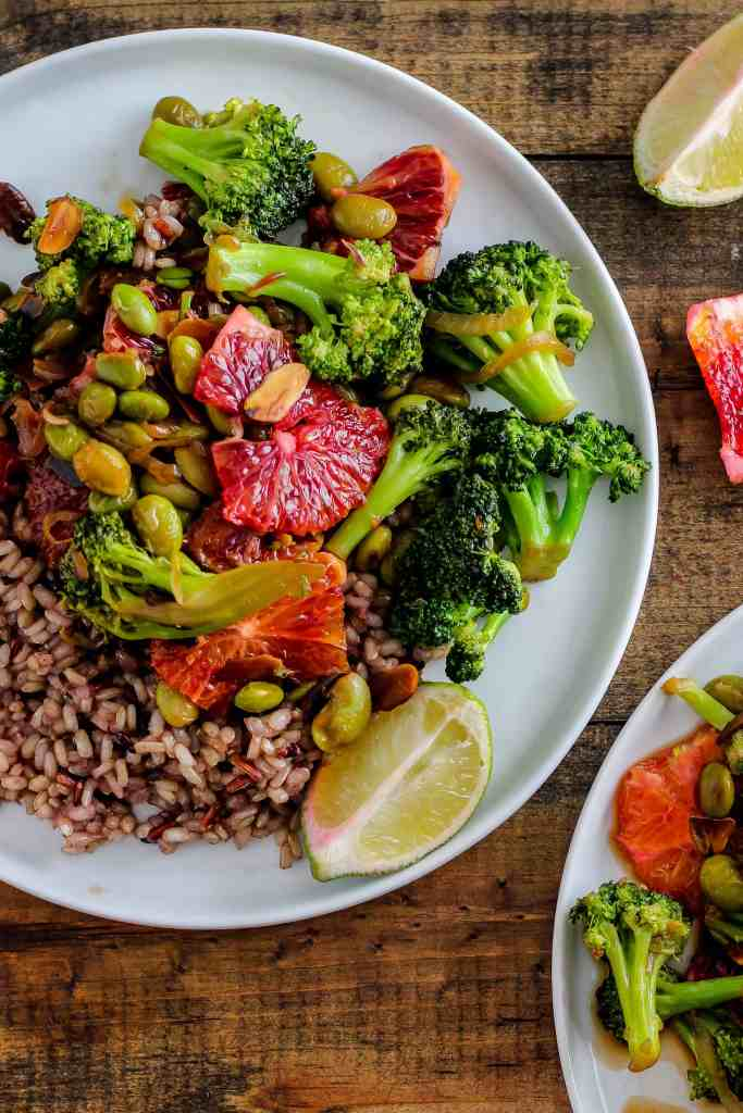 Vegetable stir-fry is quick, easy, and oh so delicious with blood oranges! This vegetarian dinner is perfect for winter.