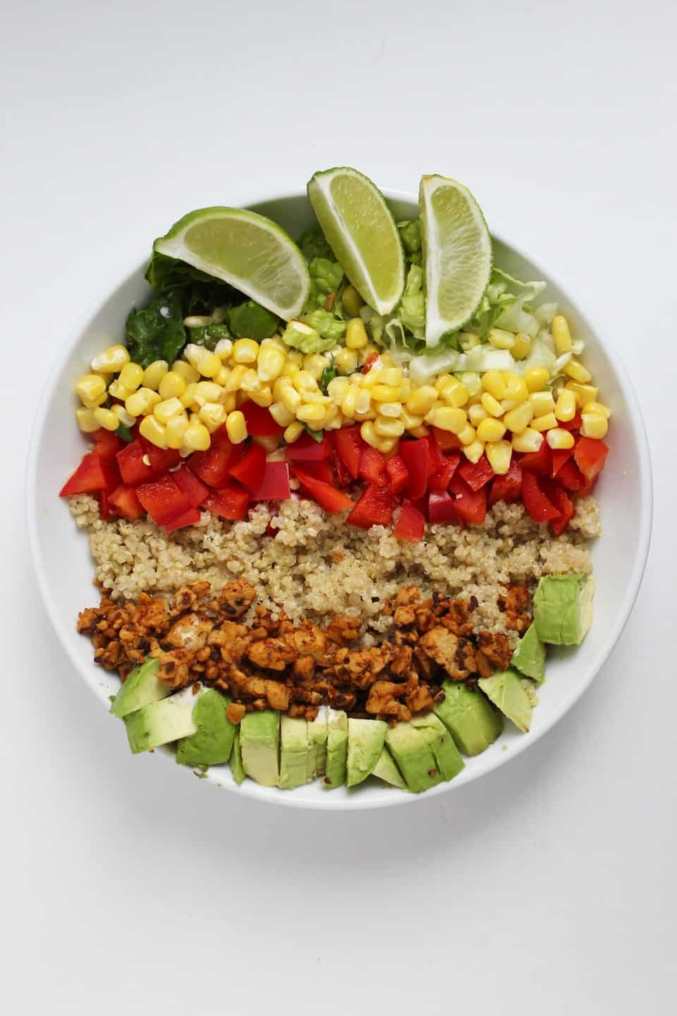 Bowl recipes. Colorful tempeh taco bowl in white bowl against white background.