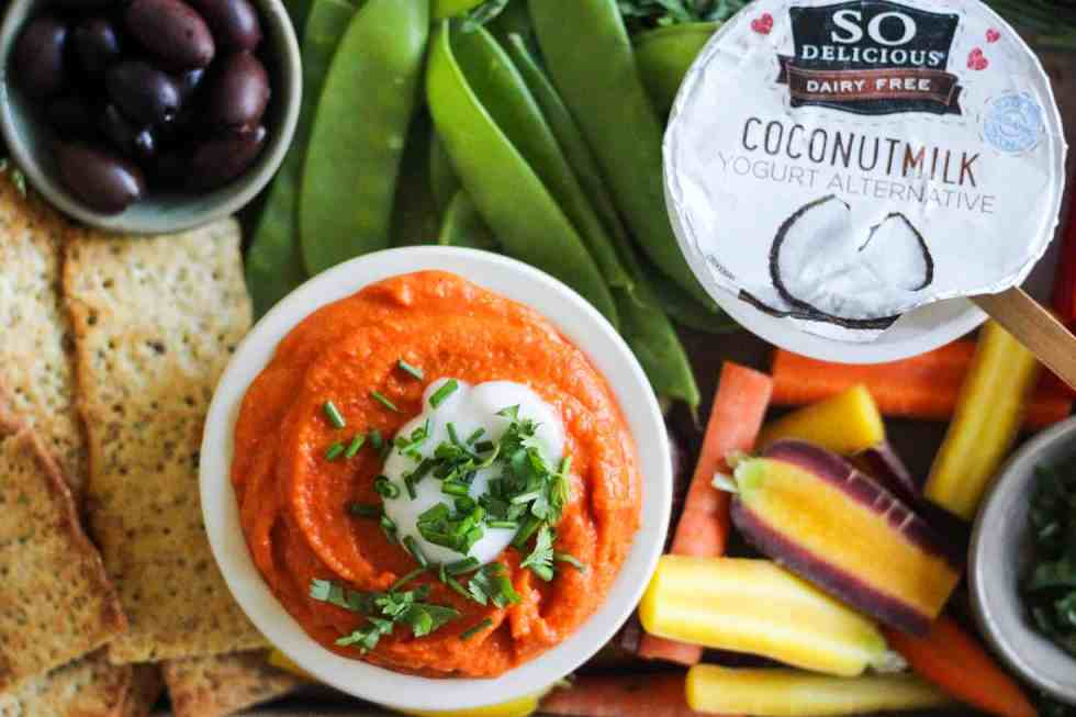 Lentil Dip on party board with So Delicious yogurt.