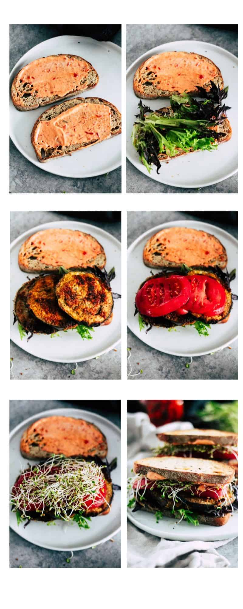 Step-by-step picture tutorial for how to make a vegetarian eggplant BLT.