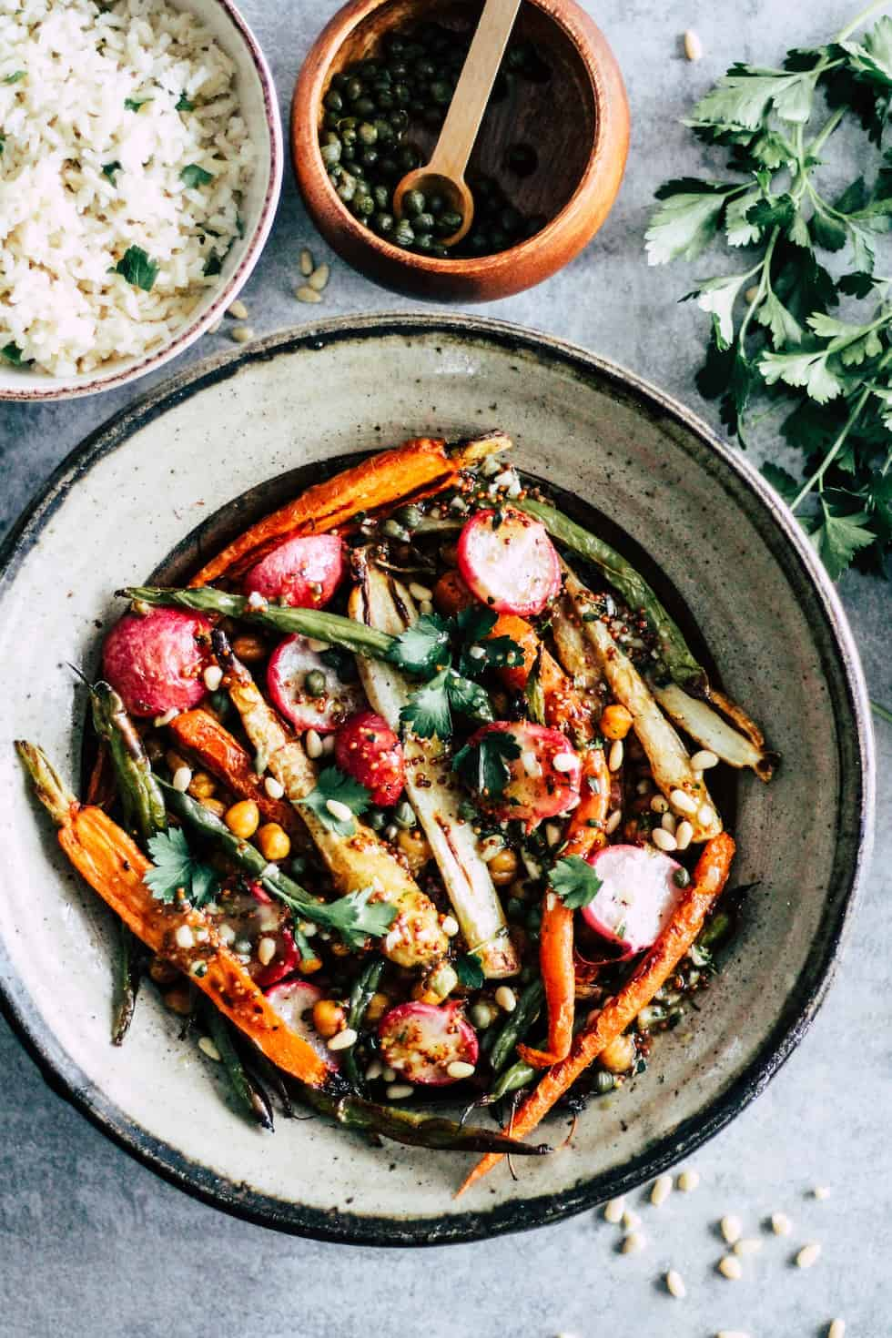 Vegetarian Chickpea Sheet Pan Dinner in ceramic bowl.