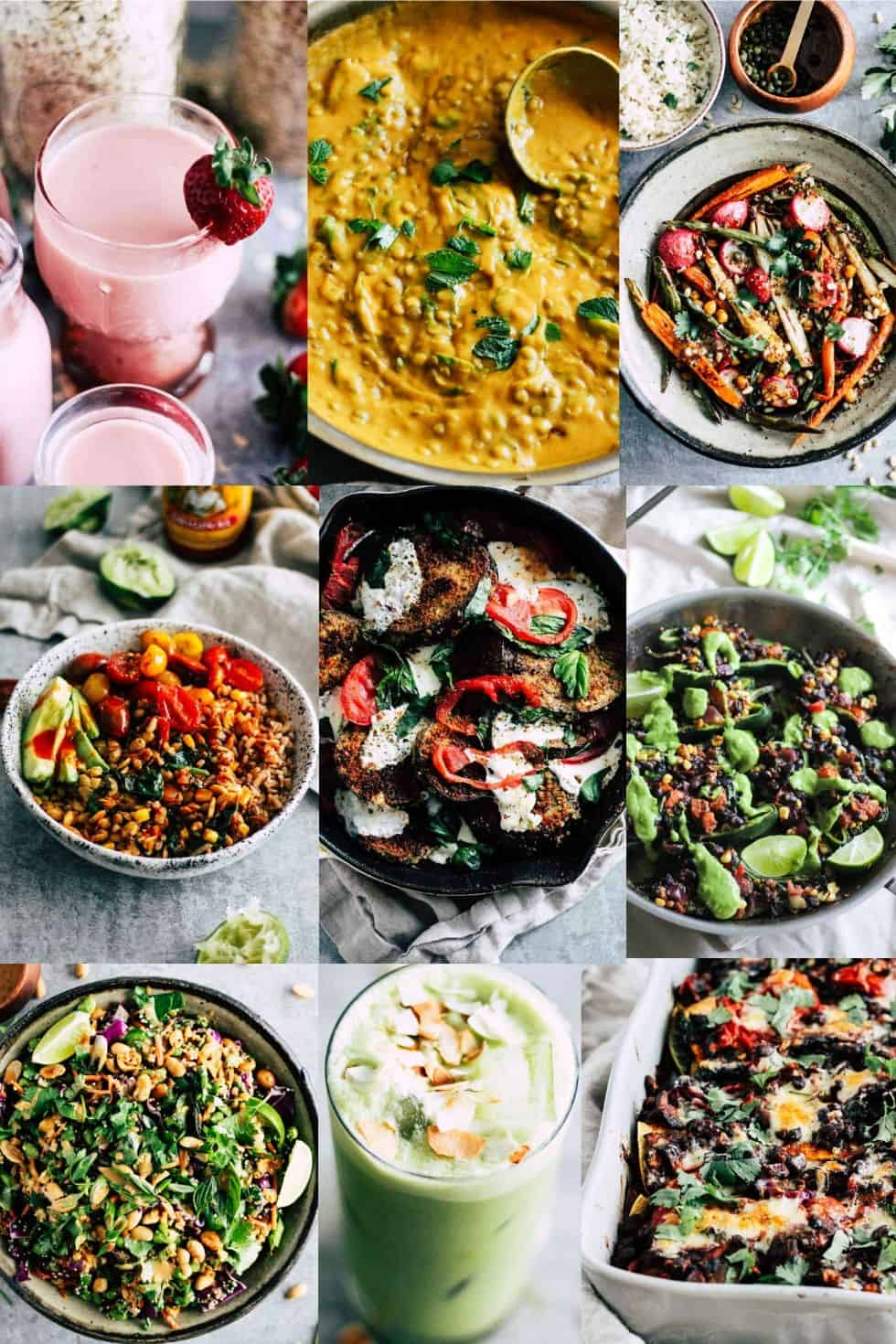 Photo collage of the Most Popular Vegetarian Recipes of 2019 on Grateful Grazer.