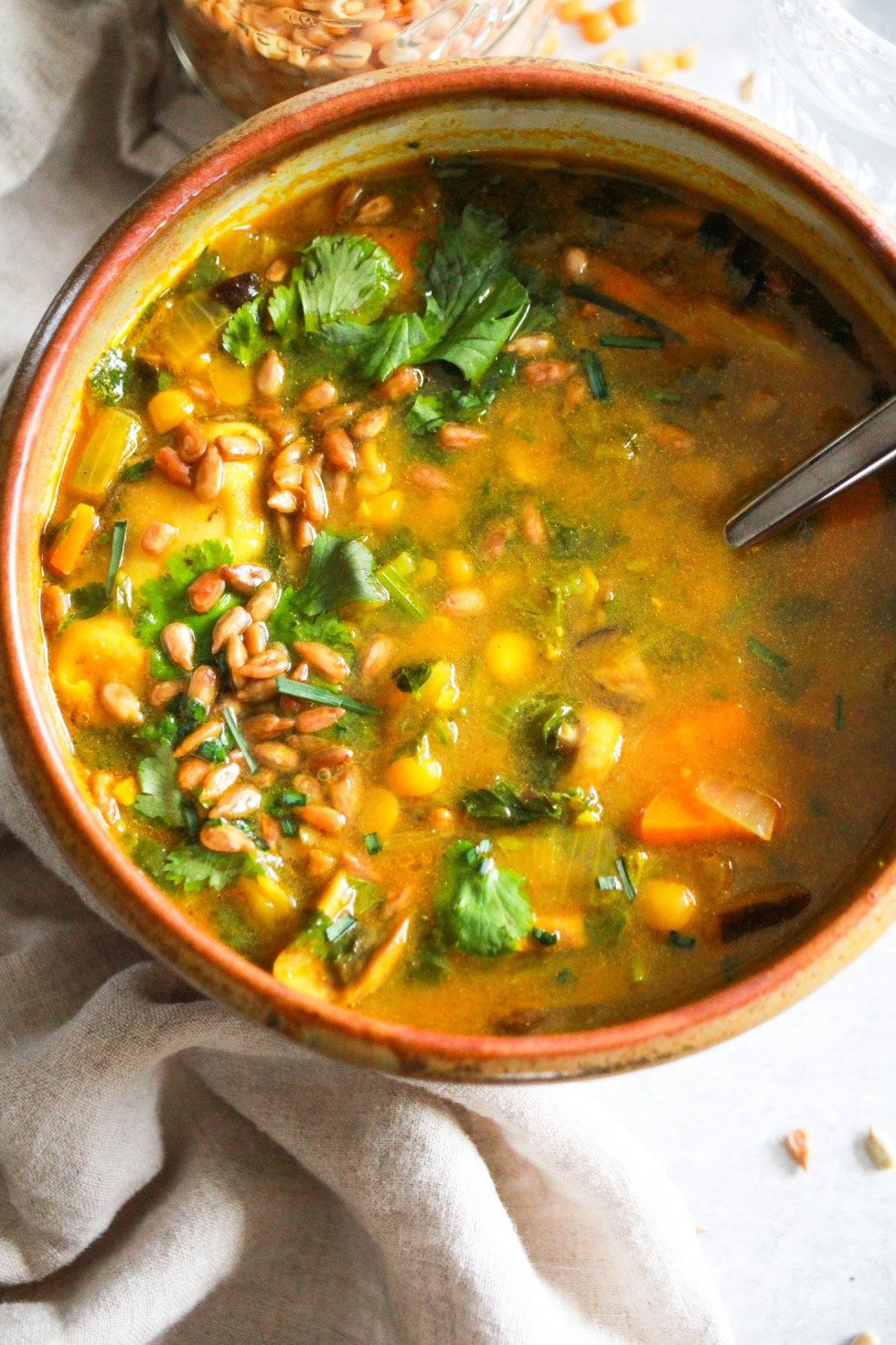 brown bowl with yellow split pea soup for an easy college meal
