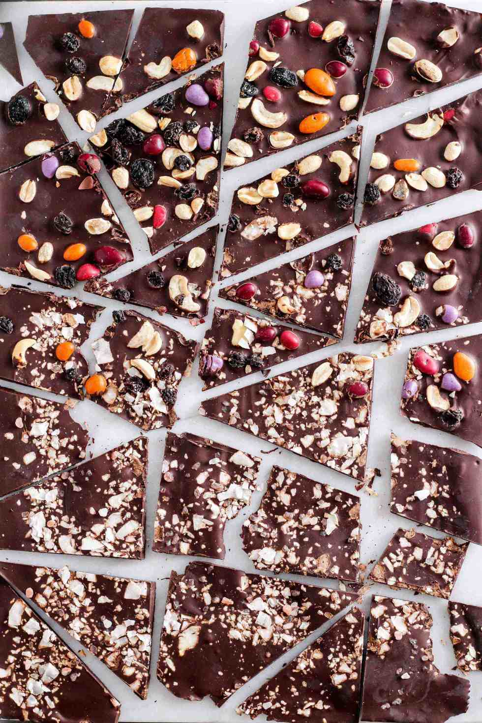 Dark chocolate bark topped with trail mix and coconut